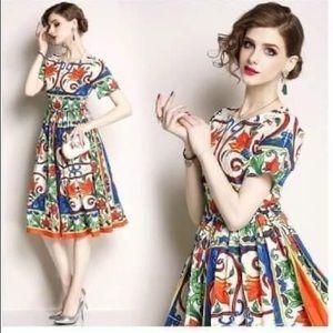 Printed Midi Dress Short Sleeve